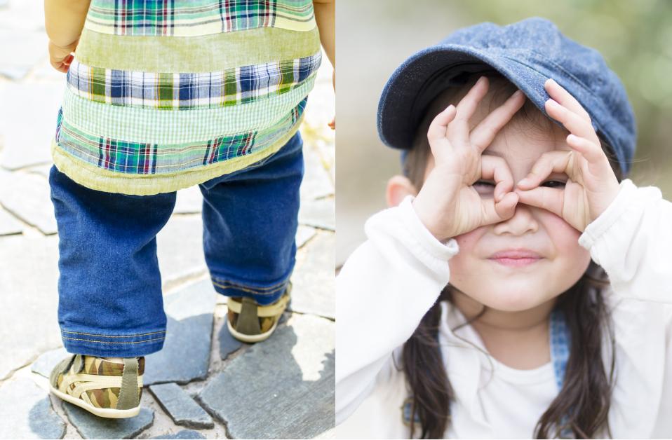 帽子をかぶった子ども / スニーカーをはいた子ども