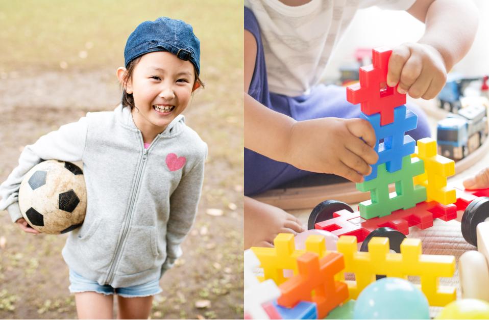積み木で遊ぶ子ども / サッカーをする女の子