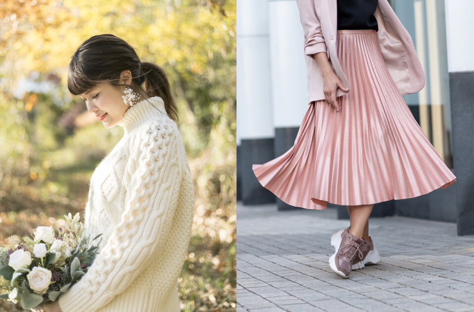 透かし編みニットを着用した女性